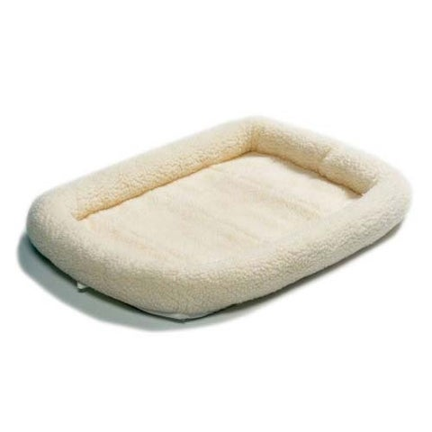 """Midwest Quiet Time Fleece Dog Crate Bed White 22"""" x 13"""""""