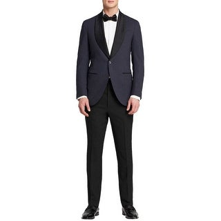 Eidos Napoli By Isaia Tipo Navy Blue Houndstooth Tuxedo 40 Regular 40R Pants 34W