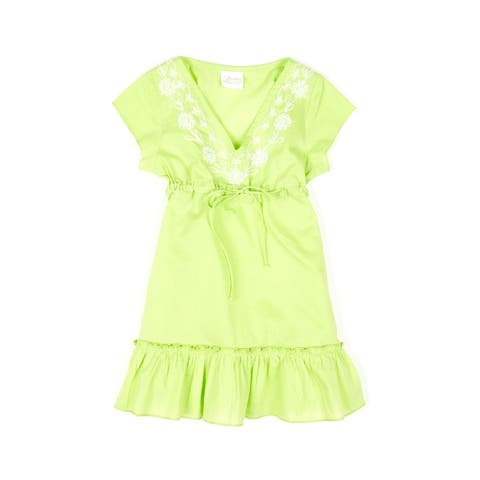 Azul Green Cap Sleeve Embroidered V Neck Cover Up Tunic Little Girls