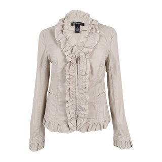INC International Concepts Women's Ruffled Poplin Jacket (M, Toad Beige) - toad beige - m