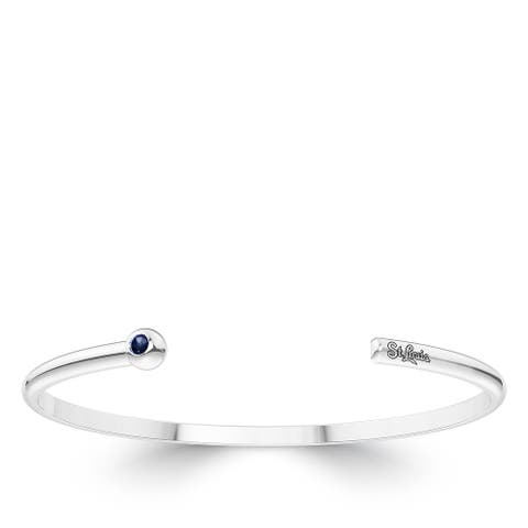 St Louis Cardinals Engraved Sterling Silver Sapphire Cuff Bracelet