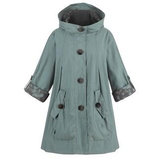 Women's Tivoli Car Coat - Sage Green Rain Resistant Hooded Jacket