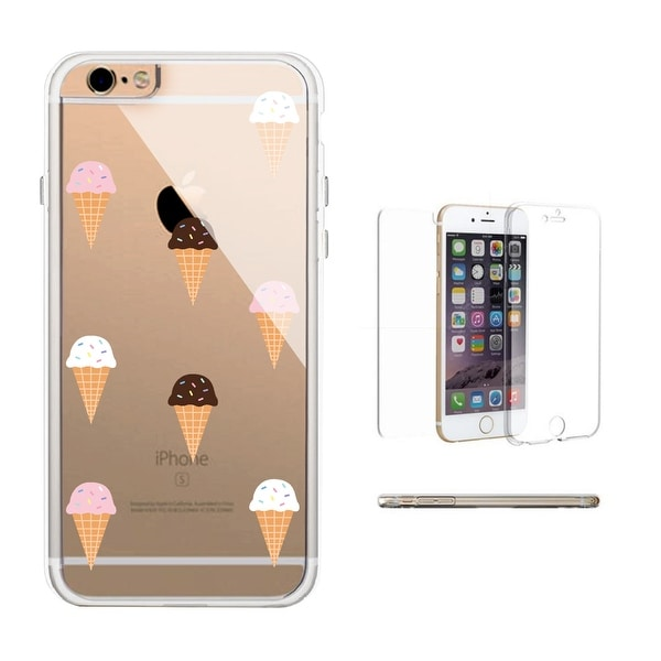 360° Full Protection Ice Cream Pattern Clear iPhone Case Transparent Phonecase