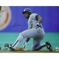 Rickey Henderson Autographed New York Yankees 16x20 Photo Sliding JSA