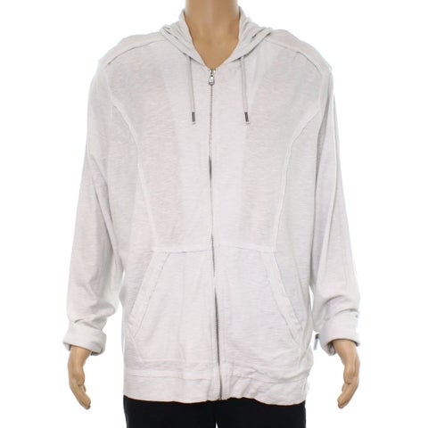 INC Washed Off White Mens Size Large L Full Zip Hooded Sweater