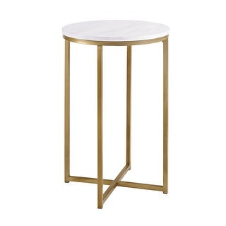 """Delacora WE-BDF16ALSTM  Chloe 16"""" Diameter Faux Marble Topped Side Accent Table with Gold Metal Base - Marble with Gold"""