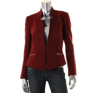 Tahari ASL Womens Textured Zip-Pocket Blazer