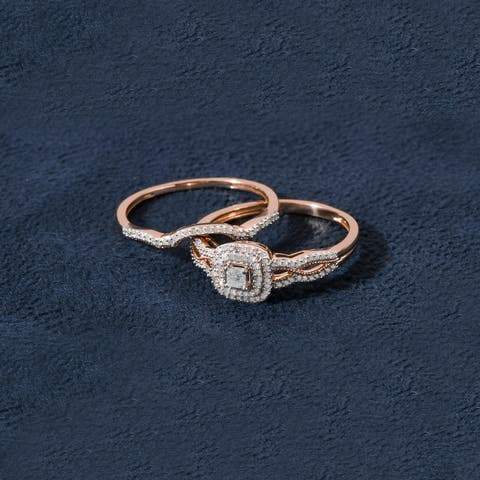 De Couer 10k Gold 3/8ct TDW Diamond Halo Birdal Ring