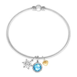Round-Cut Natural Swiss Blue Topaz Charm Bangle Bracelet in Sterling Silver and 14K Yellow Gold