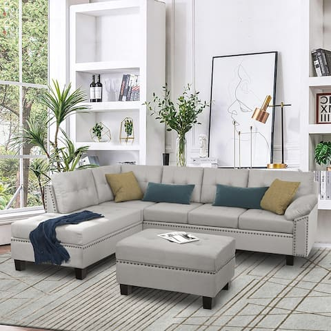 Sectional Sofa Set with Chaise Lounge and Storage Ottoman (Grey)