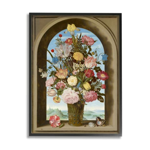 Stupell Industries Vintage Floral Bouquet Brown Gothic Window Arch Framed Wall Art