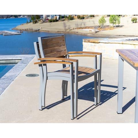 Posh Pollen Palmilla Outdoor Teak Stacking Patio Dining Chairs, Set of 2, Grey