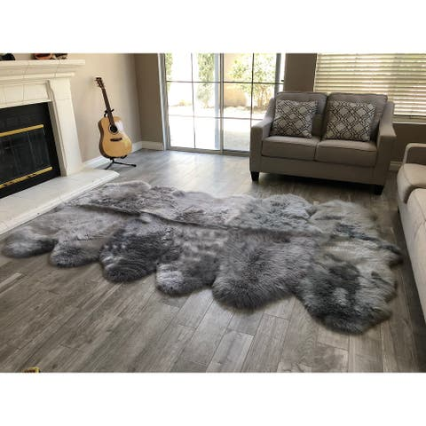 "Dynasty 12-Pelt Luxury Long Wool Sheepskin Grey Shag Rug - 5'5"" x 9'2"""