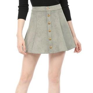 Unique Bargains Women's Mid Rise Button Closure Front Mini A-Line Skirt