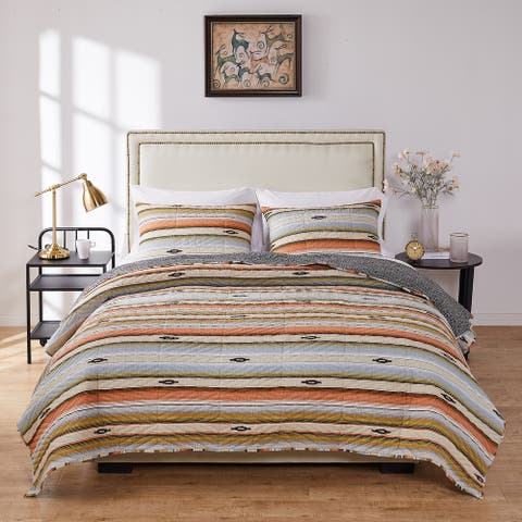 Barefoot Bungalow Painted Desert Oversized Quilt and Pillow Sham Set