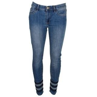 Tommy Hilfiger Indigo Mid Rise Rhinestone Studded Straight-Leg Jeans