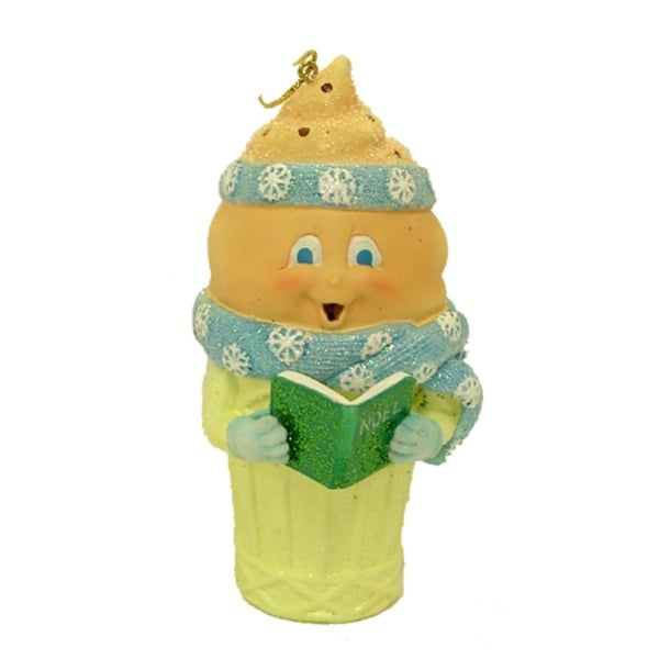 Chocolate Ice Cream Cone Caroler Christmas Ornament #W5353