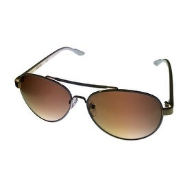 Kenneth Cole Reaction Sunglass White Metal Aviator, Brown Gradient KC1233 24F - Medium