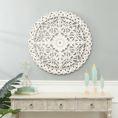 White Wood Flower Medallion Wall Decor