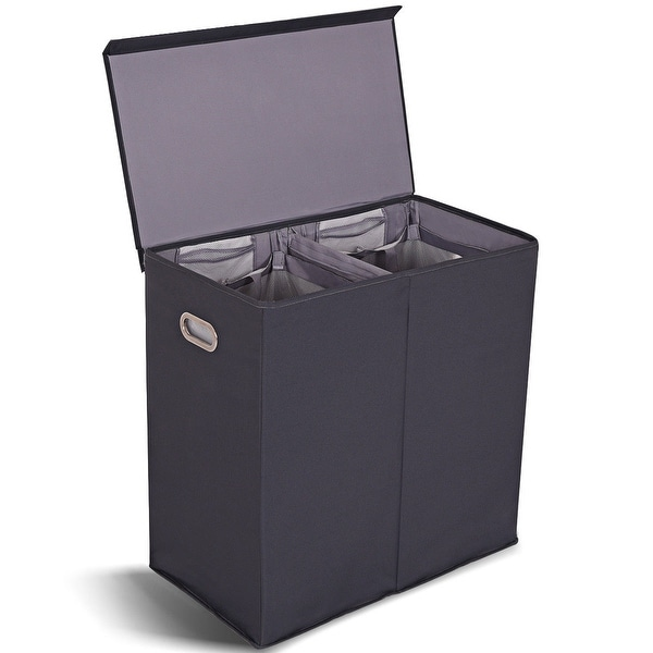 6bffe994a720 Shop Gymax Double Laundry Hamper Storage Collapsible Basket ...