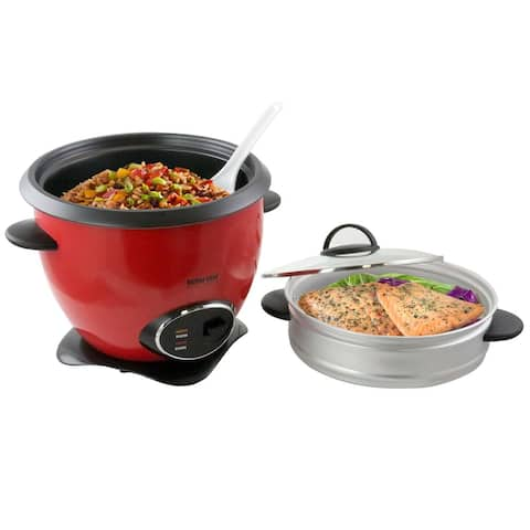 Better Chef 10 Cup Nonstick Rice Cooker with Steamer Basket in Red