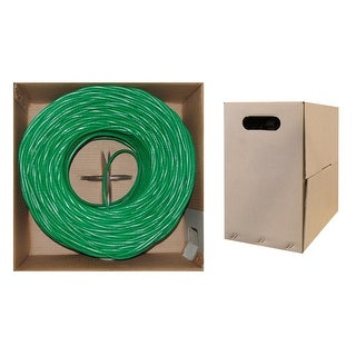 Offex Bulk Cat5e Green Ethernet Cable, Solid, UTP (Unshielded Twisted Pair), Pullbox, 1000 foot