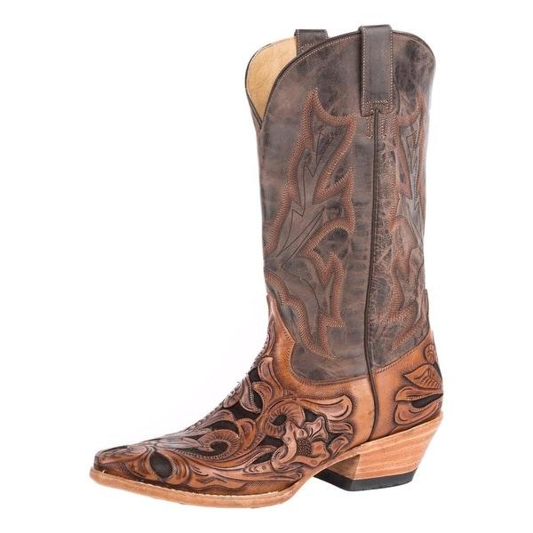 "Stetson Western Boots Mens Snip Cowboy 13"" Brown"