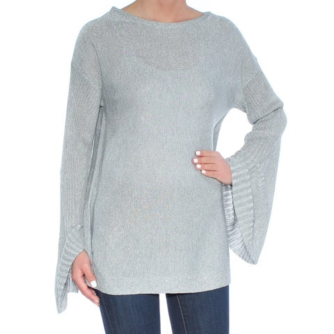 VINCE CAMUTO Womens Gray Metallic Bell Sleeve Jewel Neck Sweater Size: S