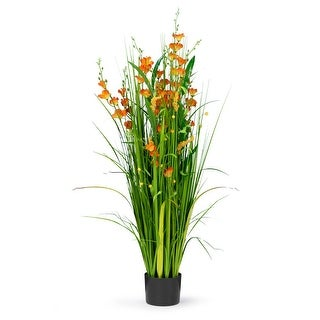 4 Feet High Artificial Reed with Decorative Orange Flowers