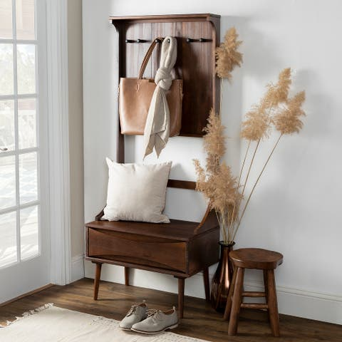 Carson Carrington Solid Wood Hall Tree with Drawer