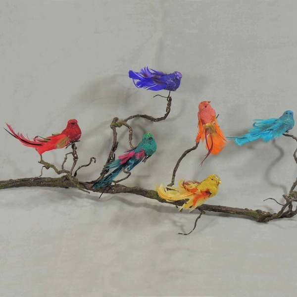 Shop Box Of 6, 6 Inch Assorted Color Burlap Birds With