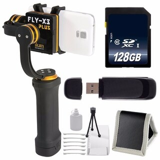 ikan FLY-X3-Plus 3-Axis Smartphone Gimbal Stabilizer with GoPro Mount + 128GB SDXC Memory Card + SD Card USB Reader Bundle