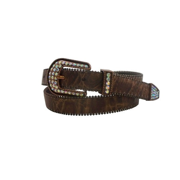Roper Western Belt Womens Distressed Stone Accent Cognac