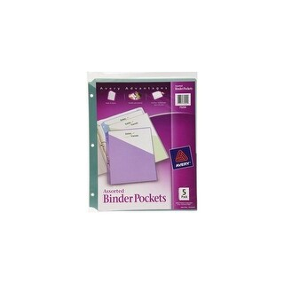 Avery 75254 5 Count Assorted Colors Binder Pockets Binder Asst 5ct