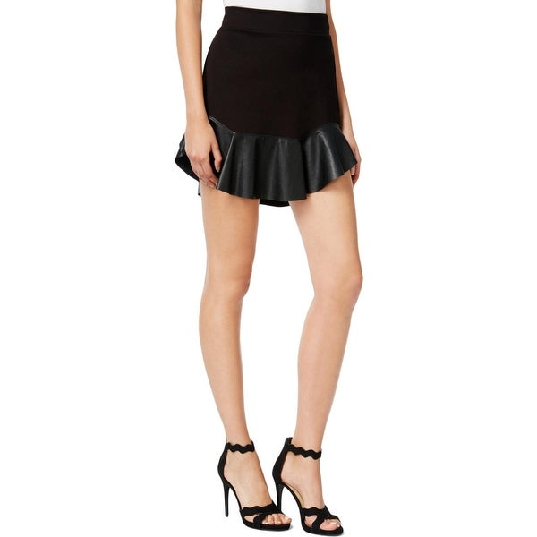 Shop Chelsea Sky Womens Flare Skirt Faux Leather Mixed