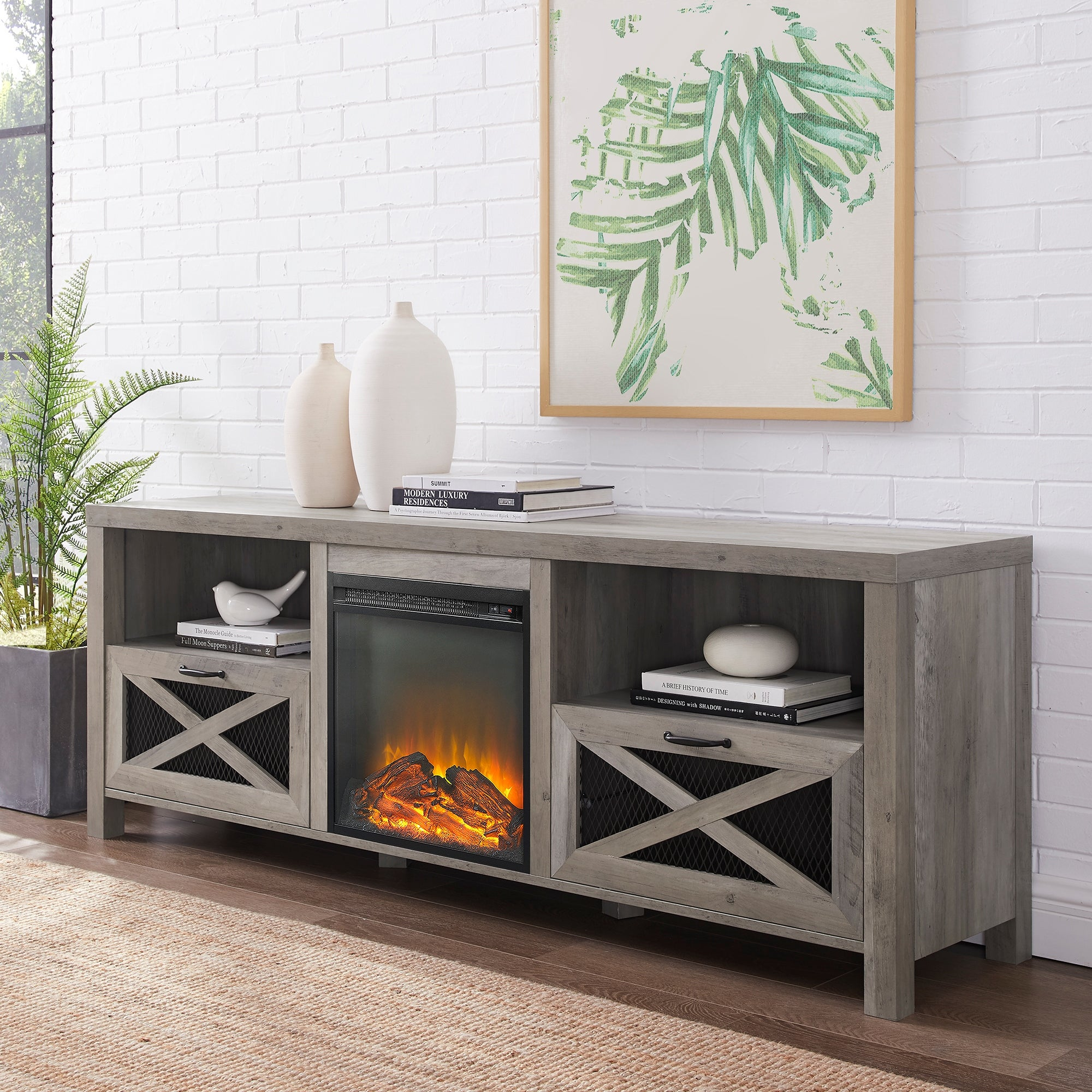 The Gray Barn 70 Inch Rustic Fireplace Tv Console On Sale Overstock 27991173