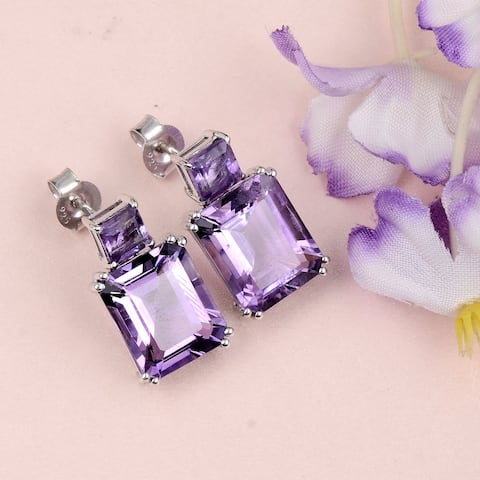 Amethyst Sterling Silver Octagon, Square Dangle Earrings by Orchid Jewelry
