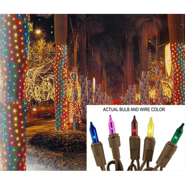 2' x 8' Multi Mini Christmas Net Style Tree Trunk Wrap Lights - Brown Wire