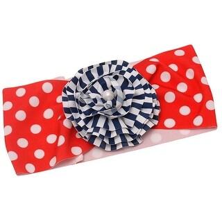 Girls Red Polka Dot Navy Stripe Print Flower Adornment Patriotic Swim Headband