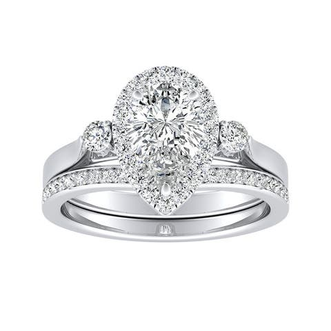 Ethical Sparkle 1 1/4ctw Pear Halo Lab Grown Diamond Engagement Ring Set 14k Gold