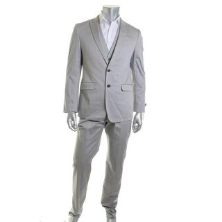 Calvin Klein Mens Two-Button Suit Long Sleeves Flat Front - 40r