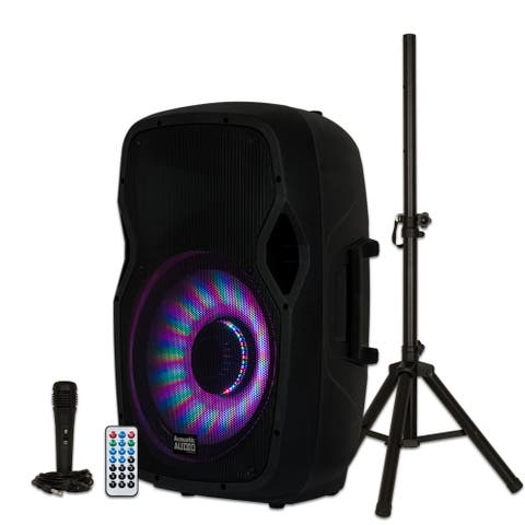 """Acoustic Audio AA15LBS Powered 1000W 15"""" Bluetooth LED Speaker with Mic & Stand"""