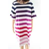 Joules White Women's Size 16 Striped Ruffle Sleeve Sheath Dress