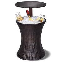 Costway 1PC Adjustable Outdoor Patio Rattan Ice Cooler Cool Bar Table Party Deck Pool - Brown