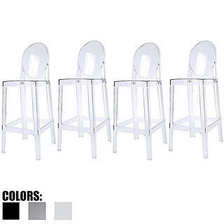 "2xhome - Set of 4 Clear Modern 30"" Seat Stackable Bar Stool Counter Height With Back Plastic Chairs For Home Restaurant Office"