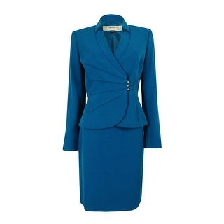 Tahari ASL Women's Crepe Crossover Jacket Skirt Suit - peacock