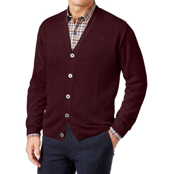 174edb52821d0 Shop Weatherproof NEW Red Bordeaux Mens Size 3XL Waffle-Knit Cardigan  Sweater - Free Shipping Today - Overstock - 19579985