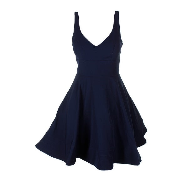 3d080c3dd5c Shop Xscape Navy V-Neck Fit Flare Party Dress 4 - Free Shipping ...