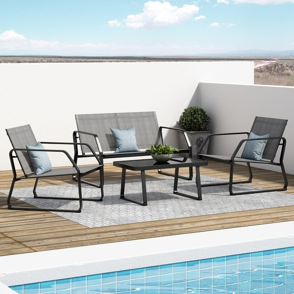 Corvus Yorkdale 4-piece Outdoor Sling Fabric Conversation Set. Opens flyout.