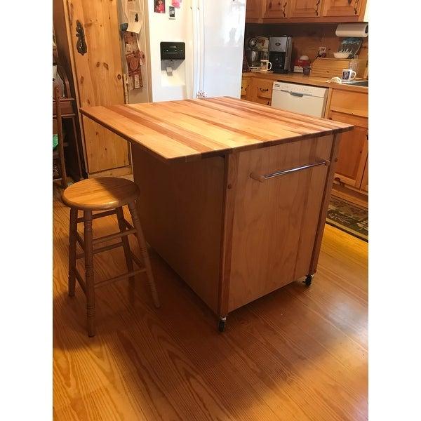 Deep Drawer Hardwood Kitchen Island   Free Shipping Today   Overstock.com    16581563